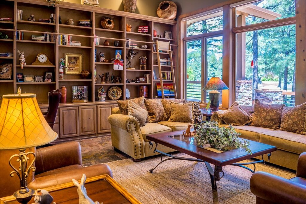 Picture of a living room that blends old and contemporary interior design styles