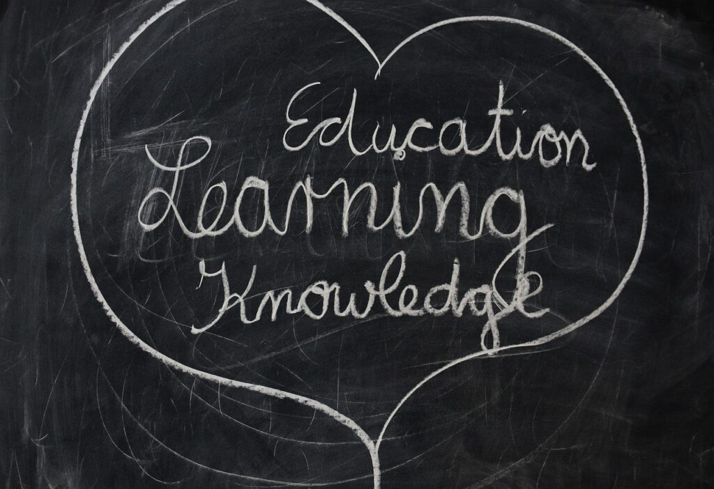A blackboard with Education, Learning and Knowledge written on it
